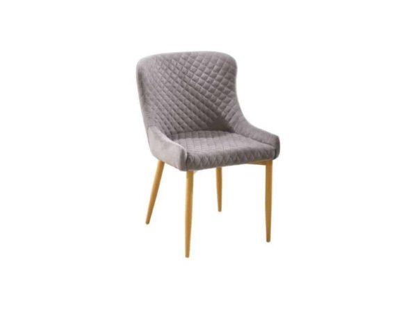 כיסא פריזמה אפור רגל מתכת אלון