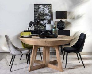 שולחן אוכל עגול רגל גאומטרית