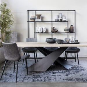 שולחן אוכל עץ רגל X שחור